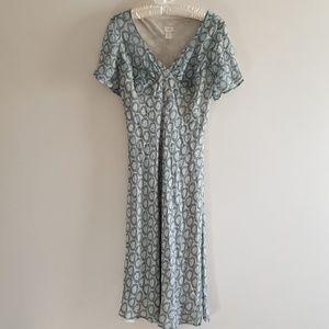 J.Jill Sheer Flouncy Geometric Aline Midi Dress 12